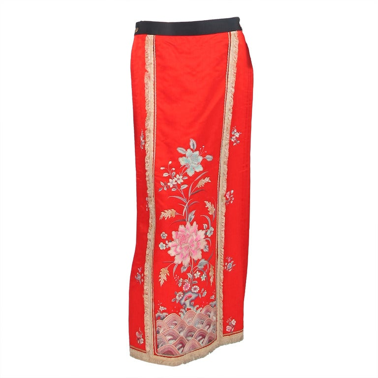 1920s silk embroidered Chinese evening skirt 1