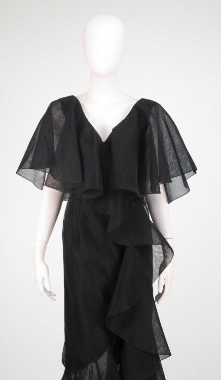Alfred Bosand cape shoulder organza illusion gown 2