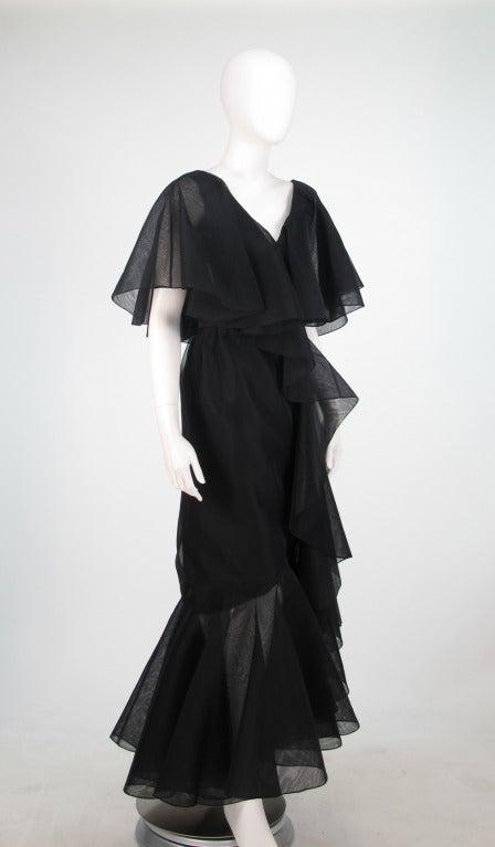 Alfred Bosand cape shoulder organza illusion gown 3