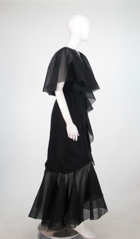Alfred Bosand cape shoulder organza illusion gown In Excellent Condition For Sale In West Palm Beach, FL