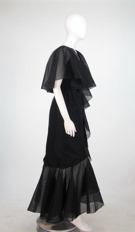 Alfred Bosand cape shoulder organza illusion gown 4