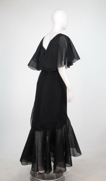 Women's Alfred Bosand cape shoulder organza illusion gown For Sale