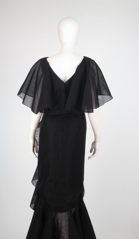 Alfred Bosand cape shoulder organza illusion gown For Sale 1