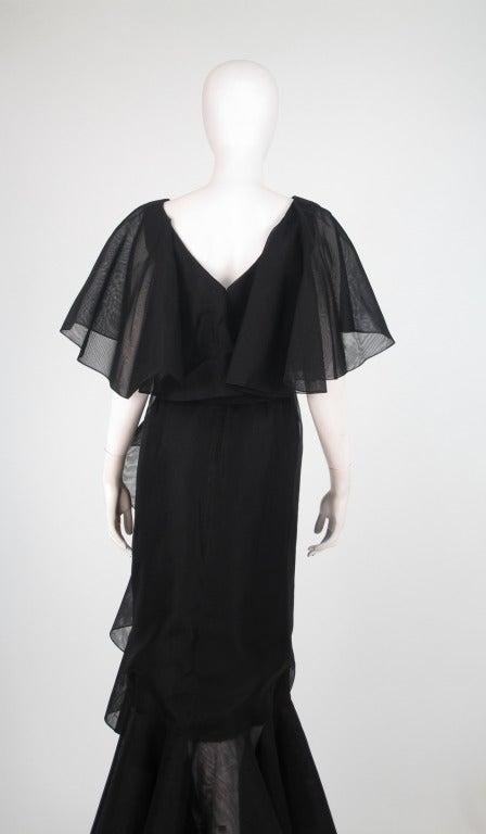 Alfred Bosand cape shoulder organza illusion gown 6