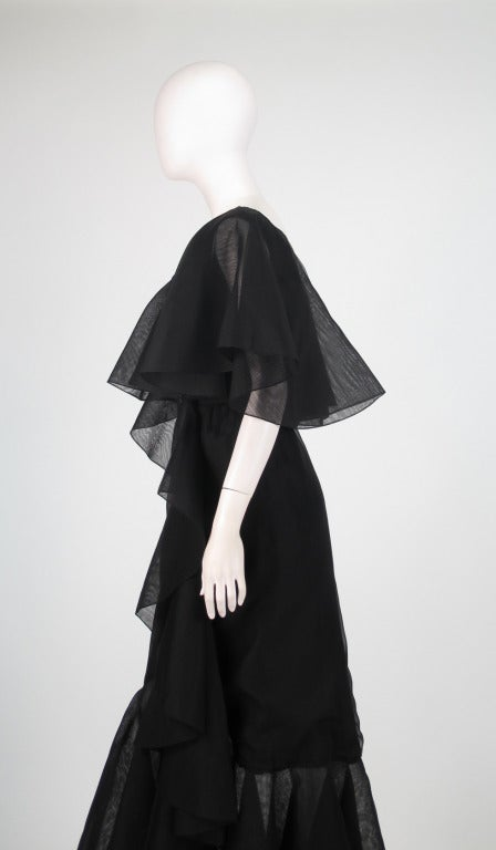Alfred Bosand cape shoulder organza illusion gown For Sale 3