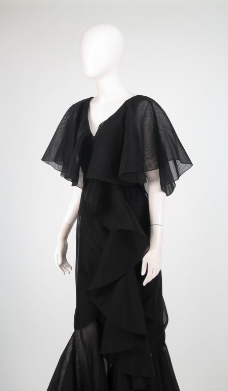 Alfred Bosand cape shoulder organza illusion gown For Sale 4