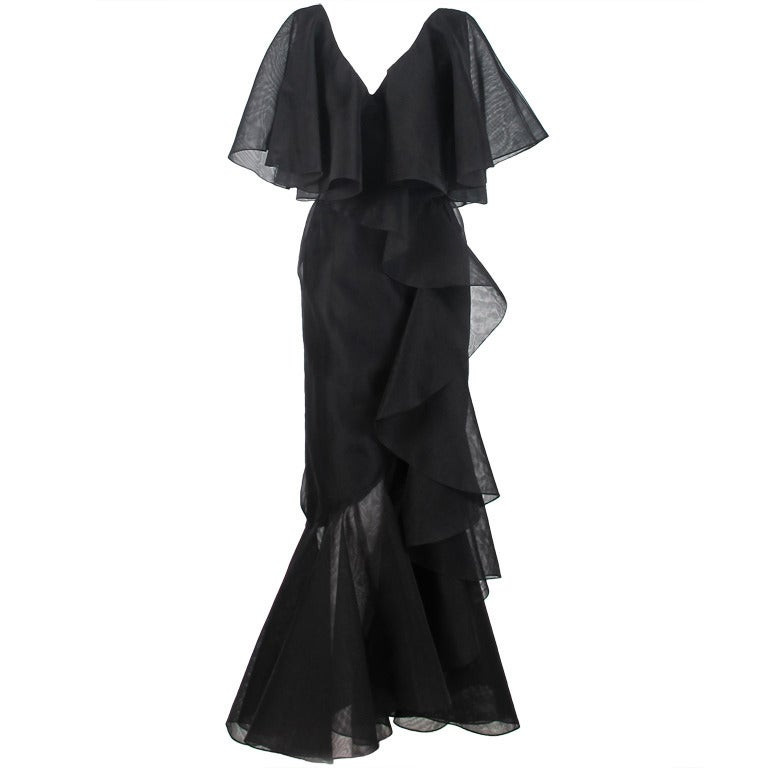 Alfred Bosand cape shoulder organza illusion gown For Sale