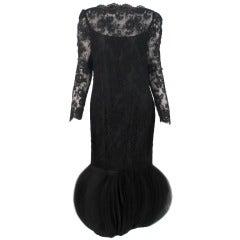 1960s Travilla black lace fanned bubble hem cocktail dress