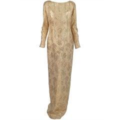 1990s Carolyne Roehm gold silk brocade open back gown