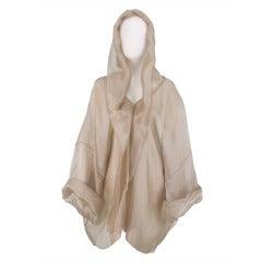 Zoran gold silk mesh hooded jacket