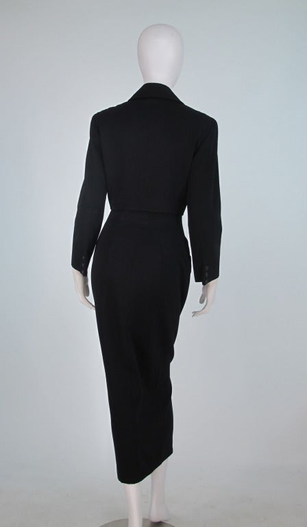 1980s Norma Kamali Omo Shapely Button Front Skirt Suit For