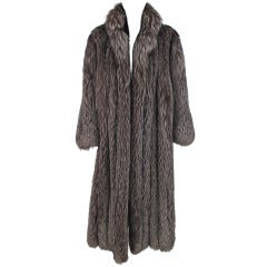 1990s Luxurious  full length silver fox fur coat