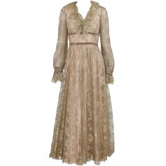 1970s Malcolm Starr ethereal gold lace evening dress