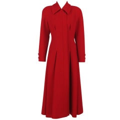 1990s Valentino Boutique red wool crepe princess coat