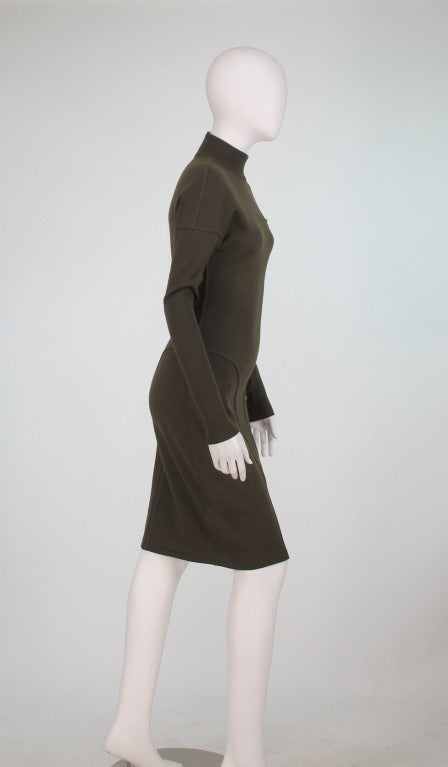 1980s Alaia wool knit dress military green In Excellent Condition For Sale In West Palm Beach, FL