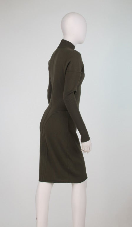 Women's 1980s Alaia wool knit dress military green For Sale