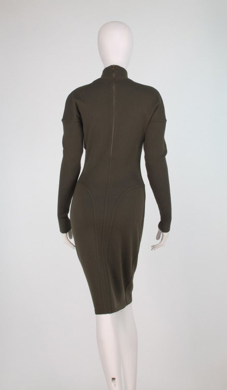 1980s Alaia wool knit dress military green For Sale 1