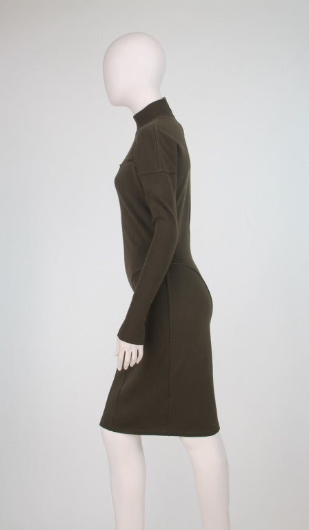 1980s Alaia wool knit dress military green For Sale 2
