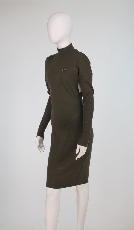 1980s Alaia wool knit dress military green For Sale 3