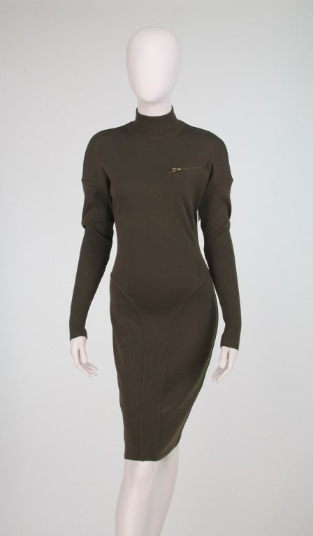1980s Alaia wool knit dress military green For Sale 4