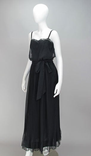Black Adele Simpson black chiffon pleated maxi dress For Sale