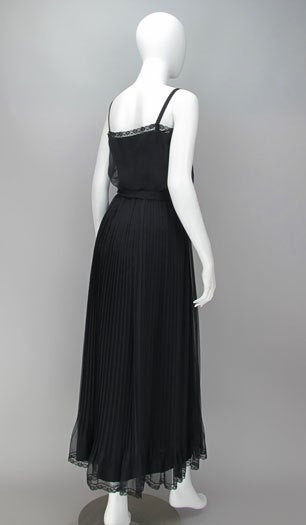 Women's Adele Simpson black chiffon pleated maxi dress For Sale