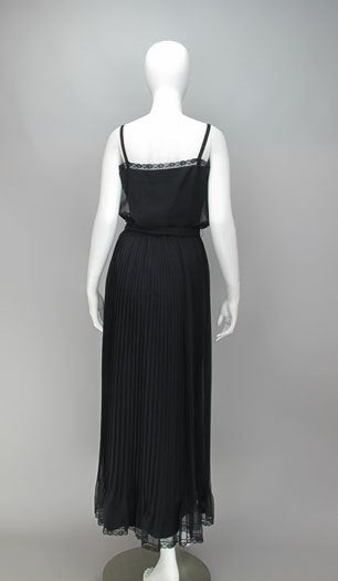 Adele Simpson black chiffon pleated maxi dress For Sale 1