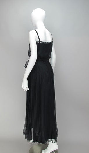 Adele Simpson black chiffon pleated maxi dress For Sale 2