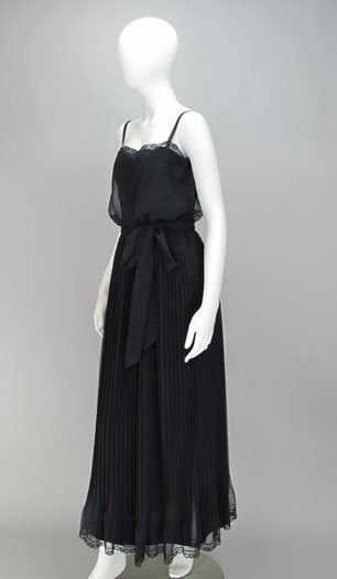 Adele Simpson black chiffon pleated maxi dress For Sale 3