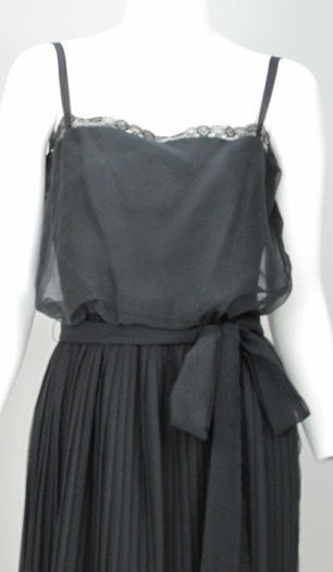 Adele Simpson black chiffon pleated maxi dress For Sale 4