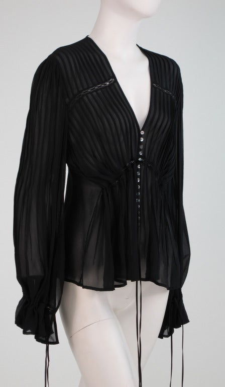Anne Fontaine Black Silk Chiffon Poet Sleeve Blouse At 1stdibs