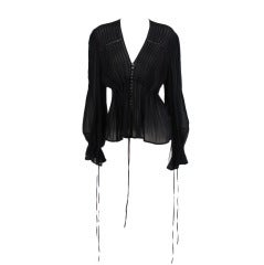 Anne Fontaine black silk chiffon poet sleeve blouse