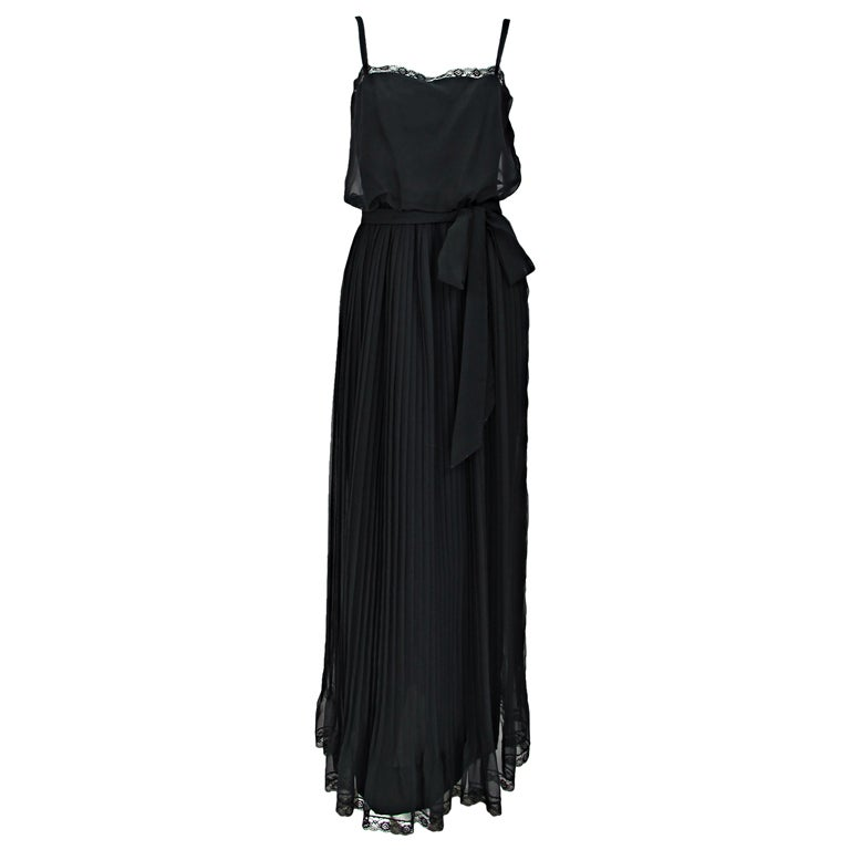 Adele Simpson black chiffon pleated maxi dress
