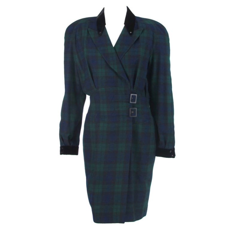 1980s Thierry Mugler  black watch plaid wrap dress
