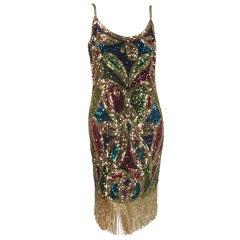 1980s Lillie Rubin sequin encrusted beaded fringe cocktail dress