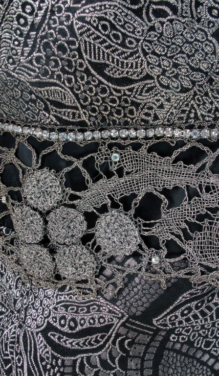 1920s silver and black metallic brocade & metallic lace dress... For Sale 5