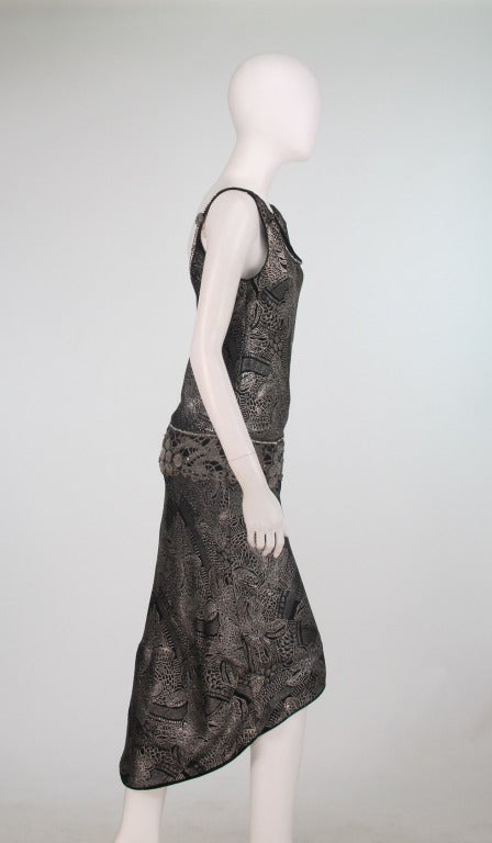 Black 1920s silver and black metallic brocade & metallic lace dress... For Sale