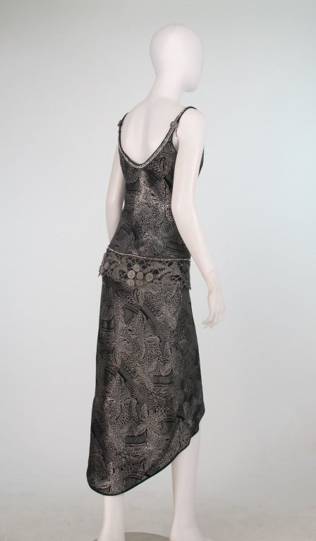 1920s silver and black metallic brocade & metallic lace dress... In Excellent Condition For Sale In West Palm Beach, FL