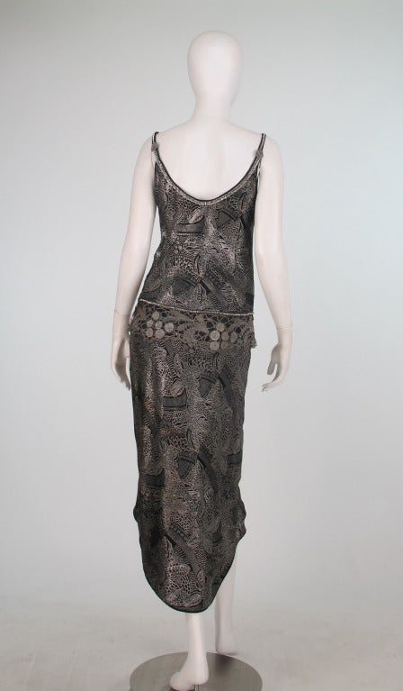 Women's 1920s silver and black metallic brocade & metallic lace dress... For Sale