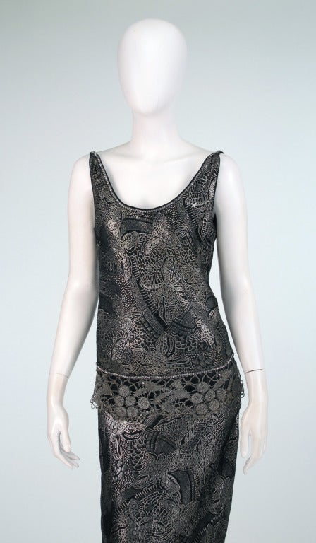 1920s silver and black metallic brocade & metallic lace dress... For Sale 2