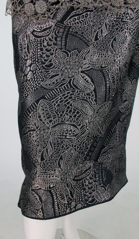 1920s silver and black metallic brocade & metallic lace dress... For Sale 4