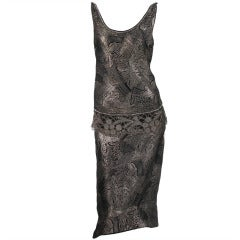1920s silver and black metallic brocade & metallic lace dress...