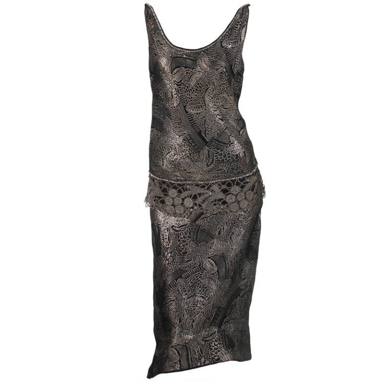 1920s silver and black metallic brocade & metallic lace dress... For Sale