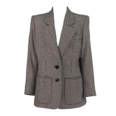 1990s Yves St Laurent cashmere patch pocket blazer in houndstooth check