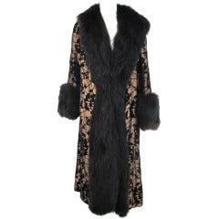 1920s gold cut velvet evening coat with black fox trim