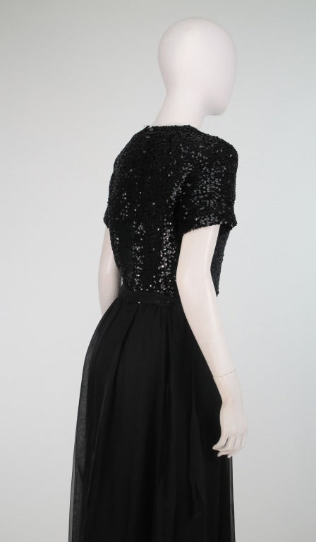1970s Givenchy Sequin And Chiffon Evening Dress For Sale