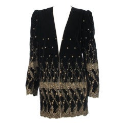 1980s Ungaro gold metallic embroidered black velvet mini coat