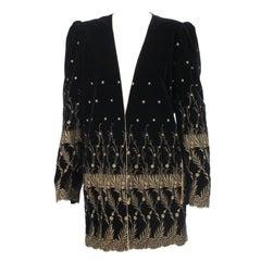 Ungaro gold metallic embroidered black velvet mini coat 1980s