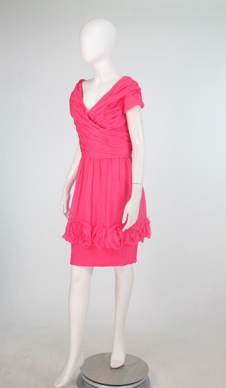 Pink 1980s Victor Edelstein hot pink silk chiffon rose hem cocktail dress For Sale