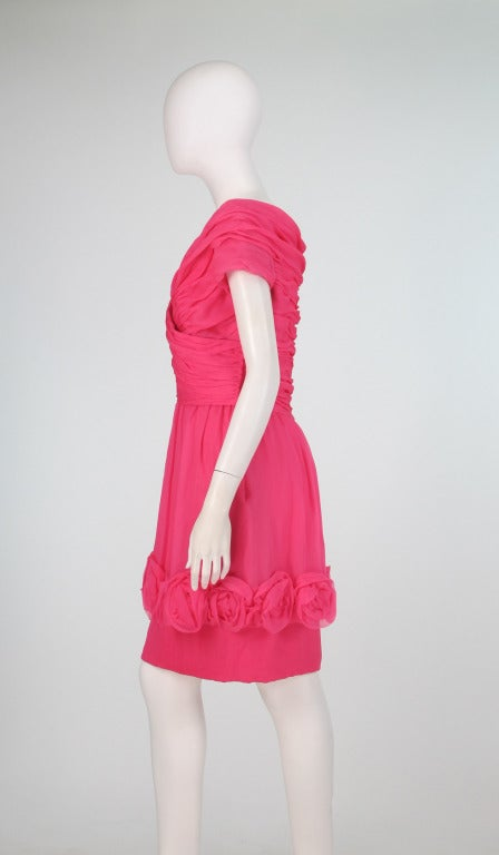 1980s Victor Edelstein hot pink silk chiffon rose hem cocktail dress In Excellent Condition For Sale In West Palm Beach, FL